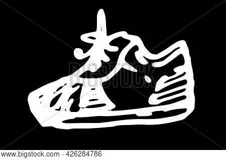 Vector Isolated Contour Of Sneakers With Bow Laces. Hand-drawn In Doodle Style, Side View Of Sports