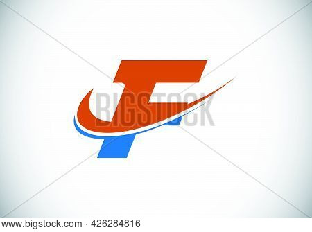 Initial Letter F With Swoosh, Red And Blue Logo Template. Modern Vector Logotype For Business And Co