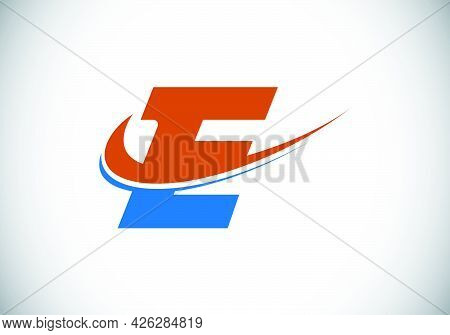 Initial Letter E With Swoosh, Red And Blue Logo Template. Modern Vector Logotype For Business And Co