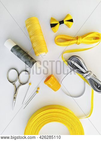 Sewing Kit And Sewing Accessories In Trend Illuminating Yellow And Ultimate Gray Ribbon Colours