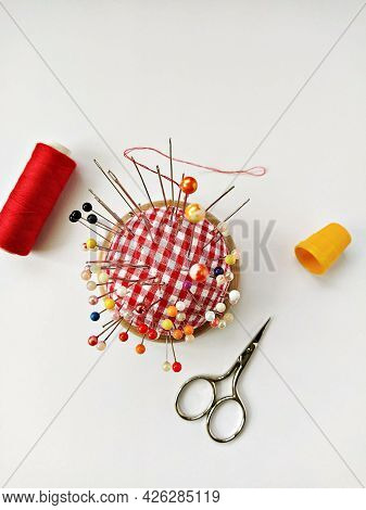 Sewing Accessories Flat Lay On White Background