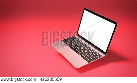 Mockup Of Modern Laptop With Blank Screen On Red Background. 3d Render Illustration For Your Design.