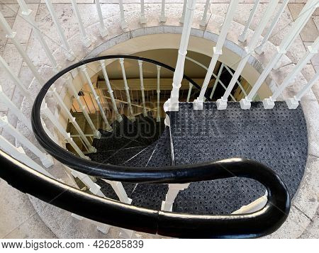 Jerusalem, Israel - March 08, 2021: Spiral Staircase Inside The Tower Ymca - Young Mens Christian As