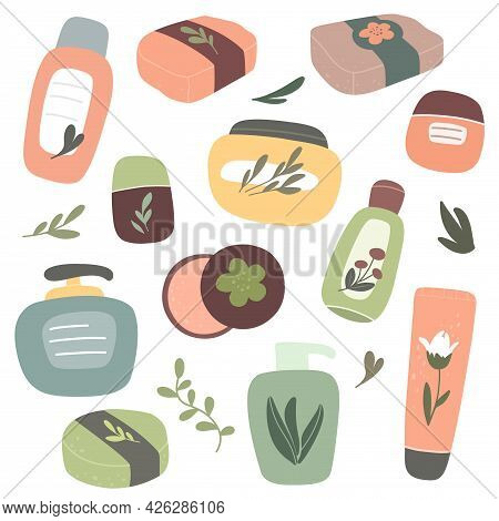 Collection Of Organic Cosmetics, Natural Cosmetics And Body Care Products. Vector Hand-drawn Isolate