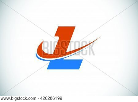 Initial Letter L With Swoosh, Red And Blue Logo Template. Modern Vector Logotype For Business And Co