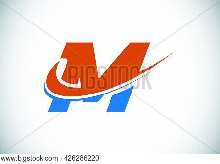 Initial Letter M With Swoosh, Red And Blue Logo Template. Modern Vector Logotype For Business And Co