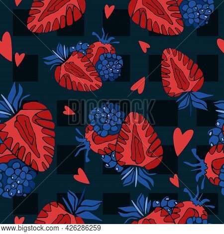 Bright Seamless Summer Pattern. Red Strawberries And Hearts On A Dark Background In A Cage. Vector I