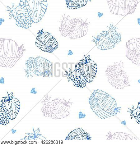 Bright Seamless Summer Pattern. Blue Strawberries And Hearts In A Cage On A White Background. Vector