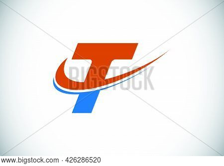 Initial Letter T With Swoosh, Red And Blue Logo Template. Modern Vector Logotype For Business And Co