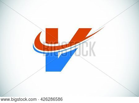 Initial Letter V With Swoosh, Red And Blue Logo Template. Modern Vector Logotype For Business And Co