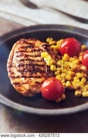 Grilled Turkey Breast On Stone Background. Close Up.