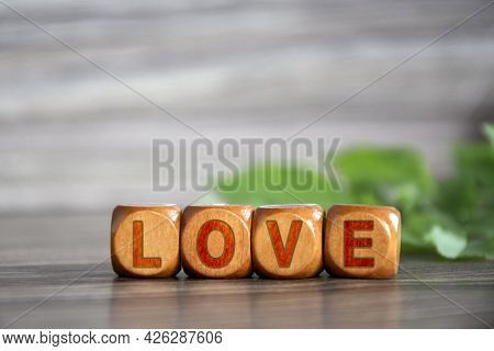 Love. The Word Love Is Written On Wooden Cubes. Inscription On Wood Dies. Declaration Of Love.