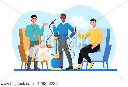 Young Male Characters Are Smoking Hookah Together. Three Male Friends Relaxing In Bag Chairs Enjoyin