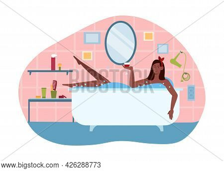 Young Female Character Is Enjoing Time Spent In Bath With A Drink. Concept Of Selfcare Time And Rela