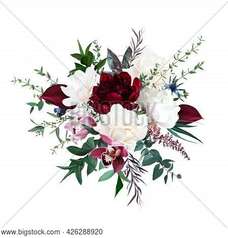 Burgundy Red Peony And Anthurium, Cream White Magnolia, Pink Orchid, Peony Flowers, Thistle, Greener