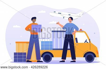Two Young Male Characters Are Working In Air Freight And Logistic Industry. Cargo Transportation Ser