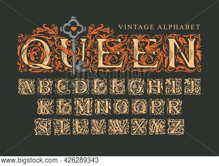 The Word Queen With Old Key On Black Background. Vintage Alphabet, Vector Set Of Hand-drawn Ornate I