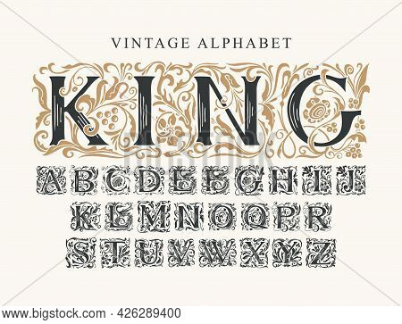 The Word King. Vintage Alphabet, Vector Set Of Hand-drawn Initial Alphabet Letters On A Light Backgr