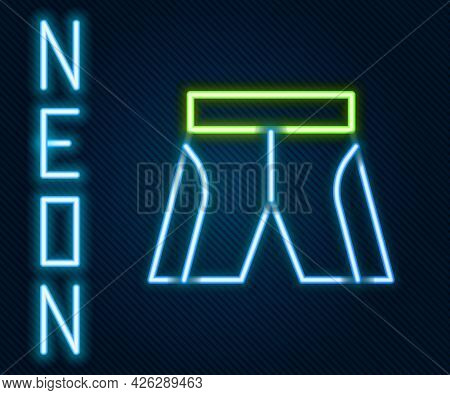 Glowing Neon Line Short Or Pants Icon Isolated On Black Background. Colorful Outline Concept. Vector