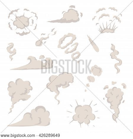Vector Smoke Set Special Effects Template. Cartoon Steam Clouds, Puff, Mist, Fog, Watery Vapour Or D