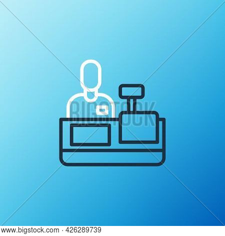 Line Cashier At Cash Register Supermarket Icon Isolated On Blue Background. Shop Assistant, Cashier