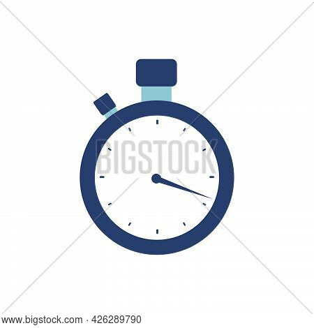 Stopwatch Clock Time Vector Icon Speed Symbol. Timer Stopwatch Sport Illustration Chronometer Circle