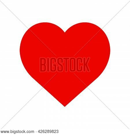 Heart Vector Icon Symbol Love Design. Red Romance Valentine Shape Illustration Heart Sign. Abstract