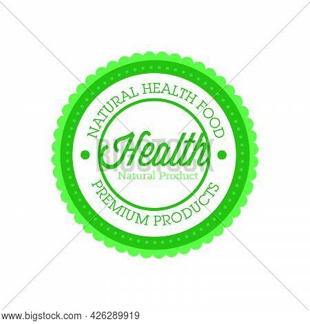 Food Badge Label Vector Icon Symbol Design Illustration. Organic Food Badge Farm Fresh Product Healt