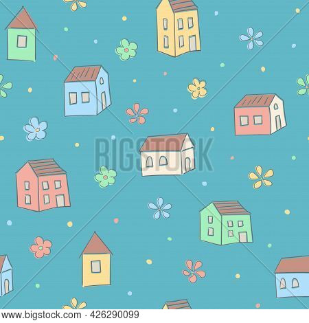 House Seamless Pattern. Childrens Cartoon Background. Cute Bright Colored Print. Pastel Palette. For
