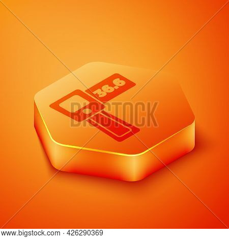 Isometric Digital Contactless Thermometer With Infrared Light Icon Isolated On Orange Background. Or