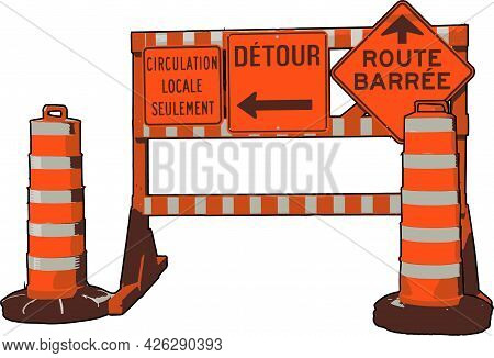 Web Site In Construction, Error 404, In French Construction Panel Vector French Local Traffic Only,