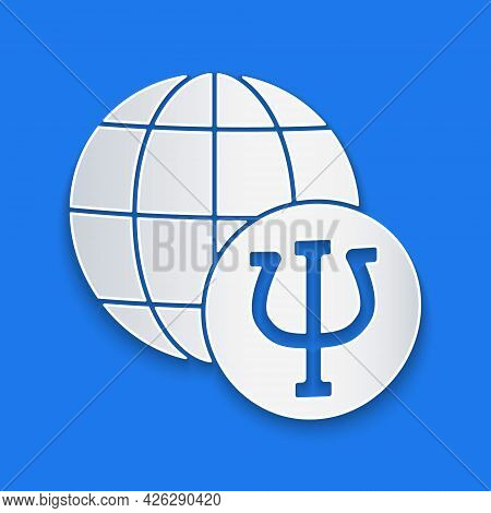 Paper Cut Psychology Icon Isolated On Blue Background. Psi Symbol. Mental Health Concept, Psychoanal