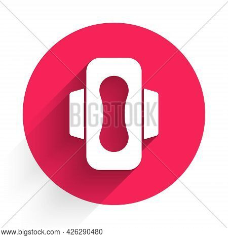 White Menstruation And Sanitary Napkin Icon Isolated With Long Shadow. Feminine Hygiene Product. Red