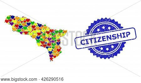 Blue Rosette Textured Seal Imprint With Citizenship Title. Vector Mosaic Lgbt Map Of Abkhazia With L