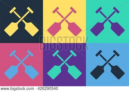 Pop Art Paddle Icon Isolated On Color Background. Paddle Boat Oars. Vector