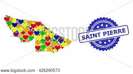 Blue Rosette Distress Watermark With Saint Pierre Phrase. Vector Mosaic Lgbt Map Of Acre State With