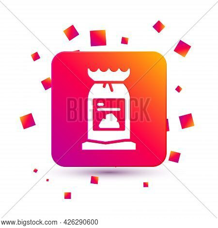 White Barbecue Coal Bag Icon Isolated On White Background. Square Color Button. Vector