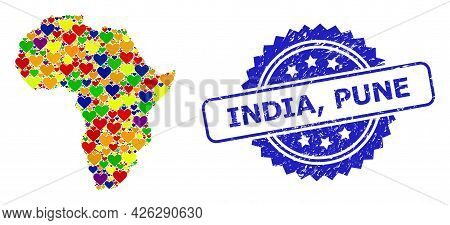 Blue Rosette Distress Seal Imprint With India, Pune Caption. Vector Mosaic Lgbt Map Of Africa With V