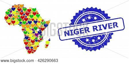 Blue Rosette Grunge Seal Imprint With Niger River Message. Vector Mosaic Lgbt Map Of Africa With Lov