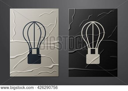 White Hot Air Balloon Icon Isolated On Crumpled Paper Background. Air Transport For Travel. Paper Ar