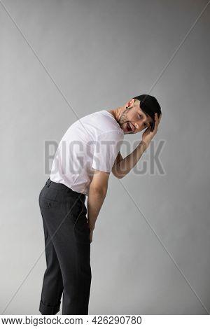 Man wearing a white tee