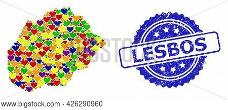 Blue Rosette Distress Seal Stamp With Lesbos Caption. Vector Mosaic Lgbt Map Of Alegranza Island Wit