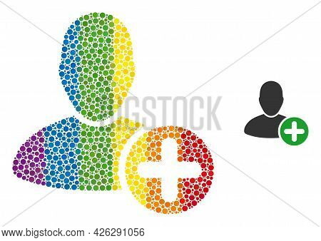 Add User Composition Icon Of Spheric Dots In Different Sizes And Spectrum Colored Color Tints. A Dot