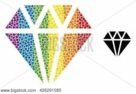 Adamant Crystal Collage Icon Of Round Dots In Different Sizes And Spectrum Color Hues. A Dotted Lgbt