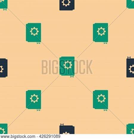 Green And Black User Manual Icon Isolated Seamless Pattern On Beige Background. User Guide Book. Ins