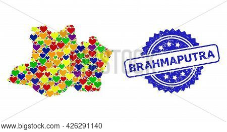 Blue Rosette Distress Seal Imprint With Brahmaputra Phrase. Vector Mosaic Lgbt Map Of Amazonas State