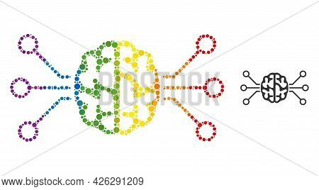 Brain Circuit Collage Icon Of Filled Circles In Different Sizes And Rainbow Colored Color Tints. A D