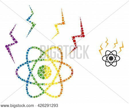 Atomic Emission Composition Icon Of Round Dots In Various Sizes And Rainbow Multicolored Shades. A D