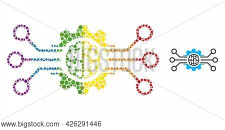 Artificial Intellect Collage Icon Of Spheric Dots In Different Sizes And Rainbow Multicolored Color