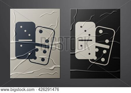 White Domino Icon Isolated On Crumpled Paper Background. Paper Art Style. Vector